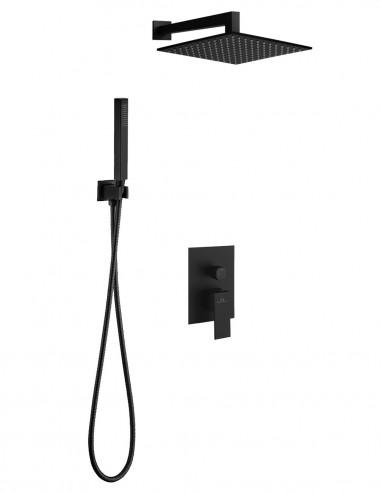 Conjunto de ducha + distribuidor LEON negro empotrado de Aquassent