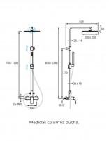 Columna ducha modelo ARIZONA de Aquassent. - medidas
