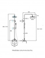 Barra de ducha CROMO de Aquassent modelo MISURI - medidas