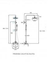 Columna blanca - cromo de ducha modelo MISURI de Aquassent - medidas