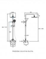 Columna ducha monomando negra modelo SAYRO de Aquassent - medidas