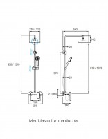 Columna de ducha de Aquassent modelo ZENDA - medidas