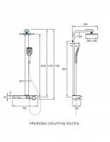 Barra de ducha termostática modelo ARTIS de Aquassent - medidas