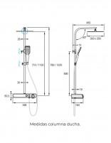 Barra de ducha termostática de Aquassent modelo Kendo - medidas