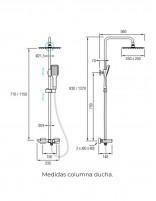 Conjunto de ducha termostática de Aquassent modelo ORIA - medidas