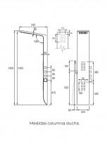 Columna ducha hidromasaje de Aquassent modelo KIARA - medidas
