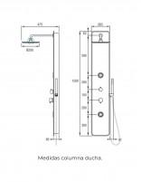 Columna de hidromasaje de Aquassent modelo TOUS - medidas