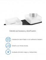 Portavasos + dispensador jabón PLEXO negro de PyP - detalles