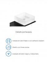 Portavasos de baño a pared modelo PLEXO negro de PyP - detalles