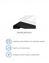 Jabonera negra a pared modelo PLEXO de PyP - detalles