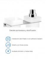 Dispensador jabón + portavasos modelo PLEXO cromo de PyP - detalles