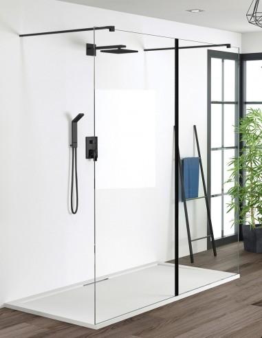 Mampara de ducha 2 fijos modelo Manhattan negro de Becrisa