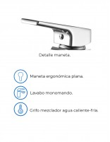 Grifo lavabo caño alto cromo modelo ARIZONA de Aquassent - detalles