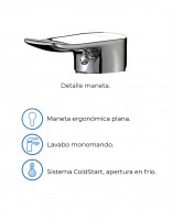 Grifo alto de lavabo modelo SAYRO CROMO de Aquassent - detalles