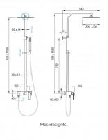 Columna de ducha-bañera - medidas modelo Mitra de Aquassent