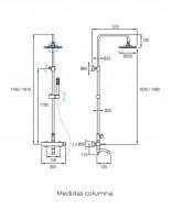 Columna de ducha con caño bañera - medidas modelo FORMENTERA de Aquassent