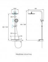 Columna ducha monomando modelo INDRA de Aquassent - medidas