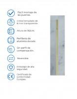 Mampara dorada fija modelo 701 de Hispabaño - detalles