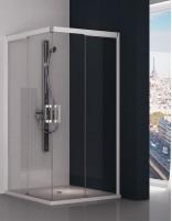 Mampara ducha blanca modelo angular 505 con 2 hojas fijas y 2 correderas de Hispabaño