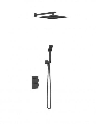 Set ducha sin grifo - empotrado termostático de Martí - negro