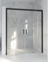 Mampara de aluminio negro - 2 fijas y 2 correderas de Hispabaño