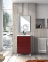 Mueble fondo reducido modelo GEO con lavabo de Socimobel - burdeos brillo