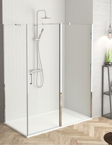 Mampara ducha lateral fijo + puerta abatible modelo Verona de Becrisa
