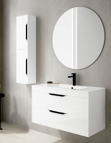 Mueble baño 2 cajones colgado modelo Cartier de Socimobel - blanco brillo
