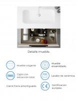 Mueble baño 2 cajones y espejo incluido modelo Cartier de Socimobel - detalles