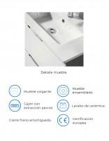 Mueble de baño con cajones y fondo reducido - detalles
