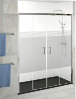 Mamparas de ducha 2 puertas correderas + 2 fijas serigrafiada SYDNEY de Becrisa