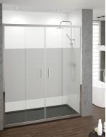 Mampara de ducha frontal 2 puertas fijas y 2 correderas serigrafiada de Becrisa