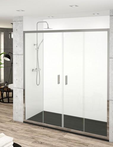 Mamparas de ducha frontales 2 puertas correderas + 2 fijas SINTRA de Becrisa.