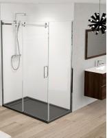 Mampara de ducha 1 hoja fija y 1 corredera con opción lateral fijo modelo elipsis
