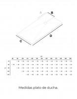 Plato de ducha extraplano - medidas modelo Matison