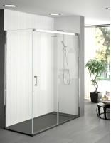 Mampara de ducha frontal corredera de 1 puerta fija y 1 corredera con opción de lateral fijo de Becrisa