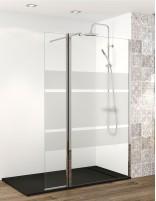 Mampara de ducha serigrafiada de un fijo y una puerta abatible modelo in out