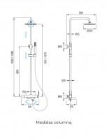 Columna de ducha y bañera medidas