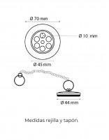 Rejilla lavabo + tapón y cadena de Martí medidas