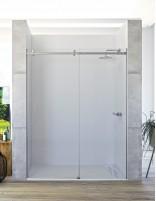 Mampara de ducha acero inoxidable - 1 puerta y 1 fija modelo TEA de Seviban