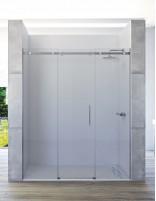 Mampara de ducha de acero inoxidable modelo HALO con 2 fijos y 1 corredera central de Seviban