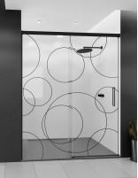 Mampara ducha borde negro modelo SIA BLACK con decorado de círculos