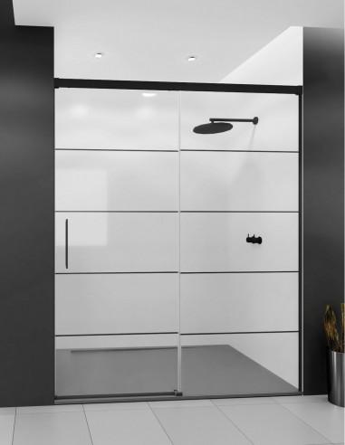 Mampara ducha borde negro modelo SIA BLACK con decorado de líneas