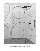Mampara ducha bode negro decorado círculos BLACK