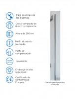 Mampara ducha aluminio modelo ARCOIRIS fija datos