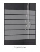 Mampara con perfil negro modelo 505 con 2 fijos y 2 correderas decorado
