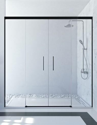Mampara negra ducha modelo SAMANI BLACK 2 fijos y 2 correderas de Seviban