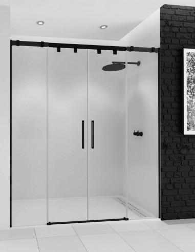 Mampara de ducha con perfil negro modelo ARWEN BLACK de Seviban 2 fijos y 2 correderas