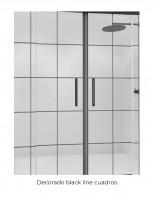 Mampara de ducha con perfil negro modelo ARWEN BLACK decorado cuadros