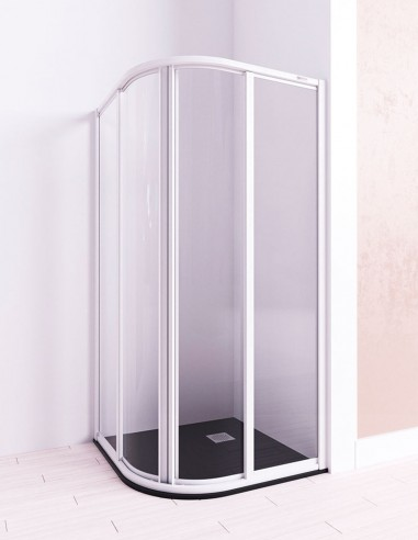 Mampara ducha semicircular modelo URANO 2 fijos y 2 correderas de Seviban